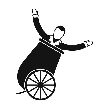 Circus man in cannon simple icon Stock Photo