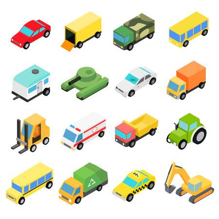 Types of automobiles isometric set