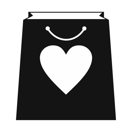 Shopping bag with heart simple icon