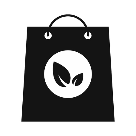 Paper bag with leaves black icon