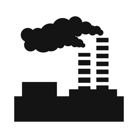 Factory pollution simple icon Stock Photo