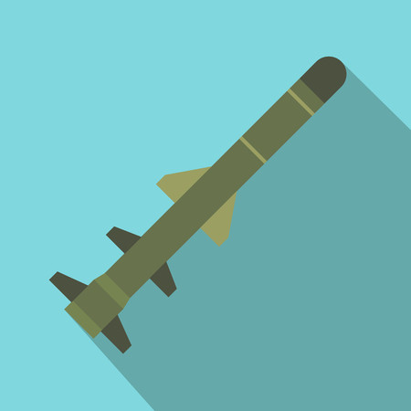 Flying military missile flat icon