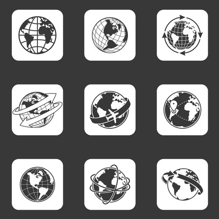 Globe icons set Banque d'images