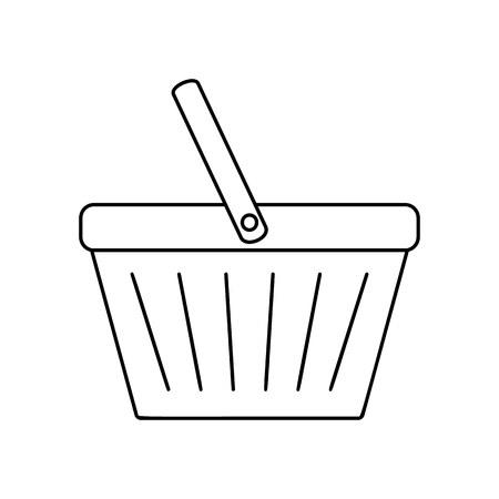 Shopping basket line icon, thin contour on white background