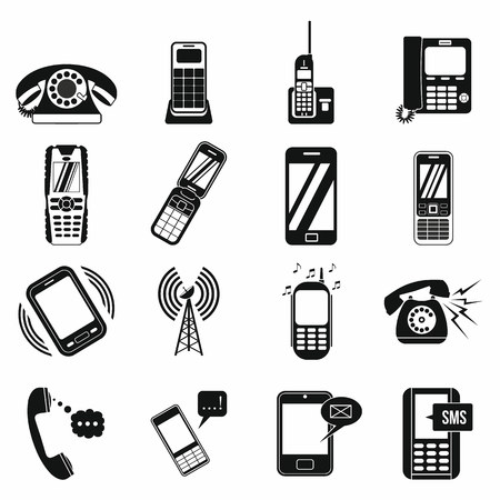 Phone simple icons set for web and mobile devices 免版税图像