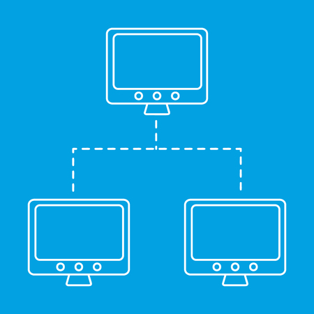 Network line icon. The main and connected computers single symbol on a blue background