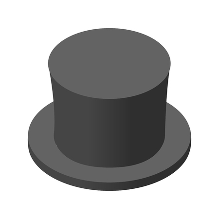 Snowman black hat isometric icon. Single image on a white background