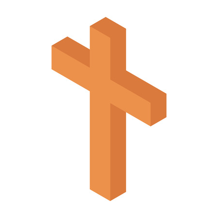 Cristian cross isometric 3d icon. Brown single symbol on a white background