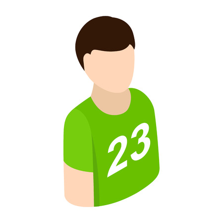 Sportsmen isometric 3d icon. Single character in green t-shirt on a white background