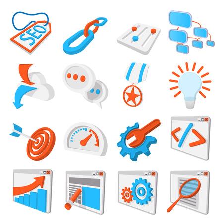Seo 16 cartoon icons set. Blue and orange symbols on a white background Stock Photo