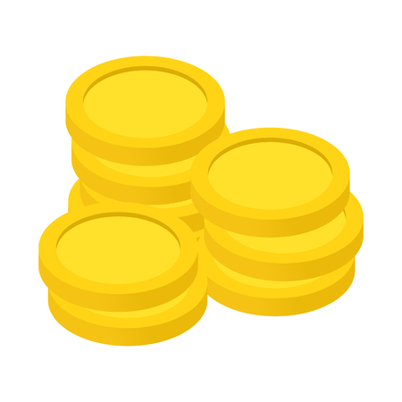 Gold coins isometric 3d icon. Isolated on white background