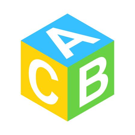 ABC block isometric 3d icon. Single illustration isolated on a white Stock Photo