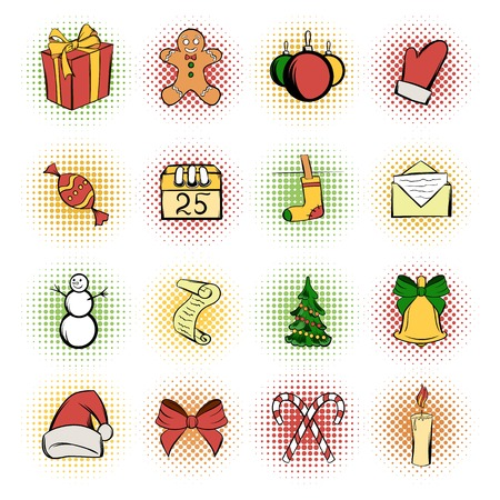 Christmas comics icons set. Colored symbols on a white background