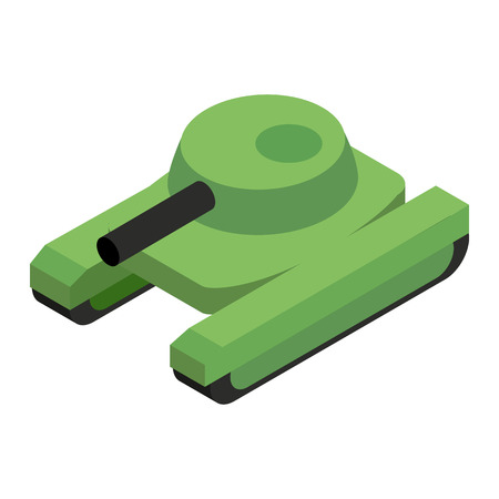 Army tank isometric 3d icon on a white background