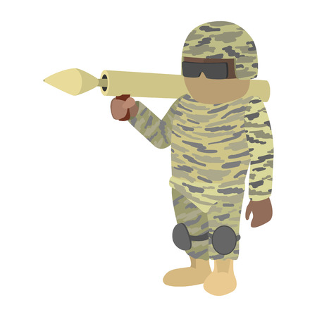 Soldier in camouflage with a bazooka cartoon icon isolated on a white background