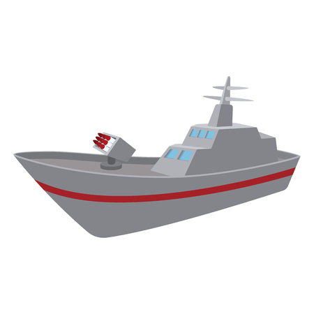 Warship cartoon icon isolated on a white background