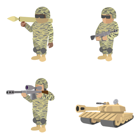 Set of soldiers with guns and tank cartoon icons isolated on white background Reklamní fotografie