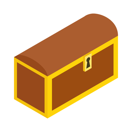 Wooden closed chest isometric 3d icon. Single illustration isolated on a white Stock Photo