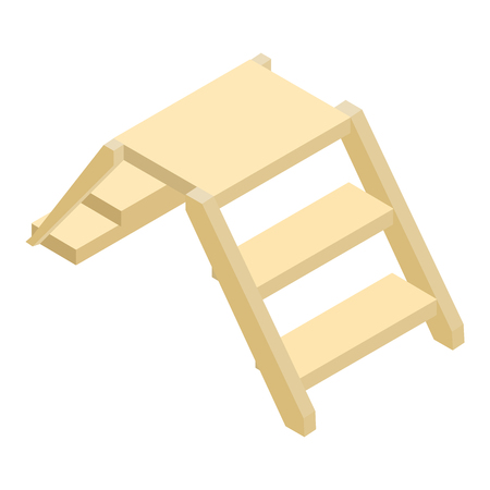 Wooden ladder isometric 3d icon isolated on a white background