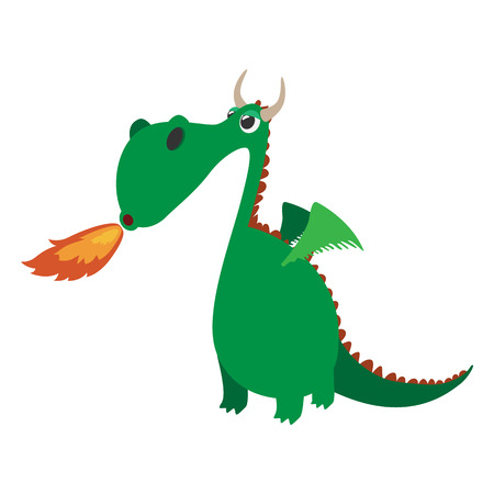 Cute dragon cartoon character on a white background