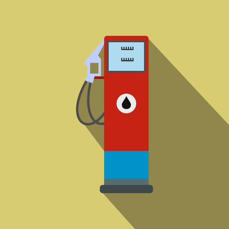 Gasoline refueling flat icon with a shadow on a yellow background