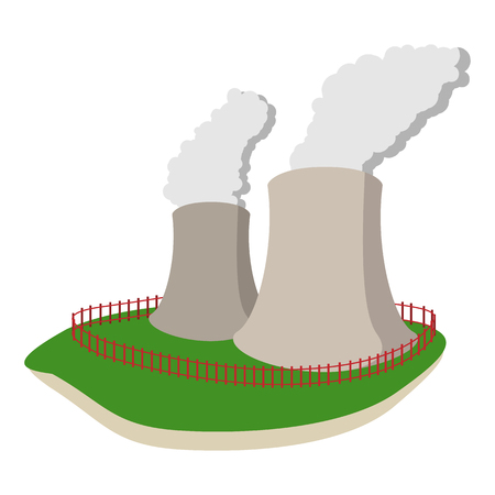 Smoking pipes of thermal power plant cartoon icon on a white background