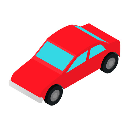 Red car isometric 3d icon on a white background