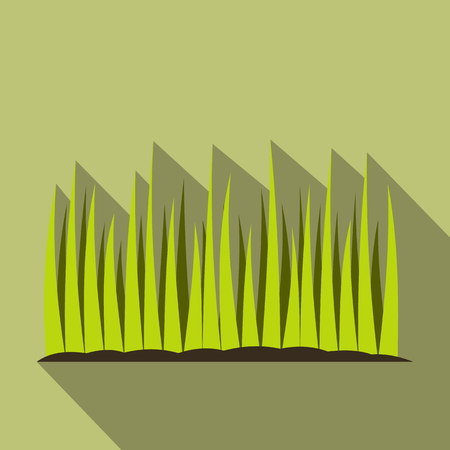 Growing grass flat icon on a green background Stock Photo