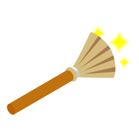 Witches broom isometric 3d icon on a white background Imagens
