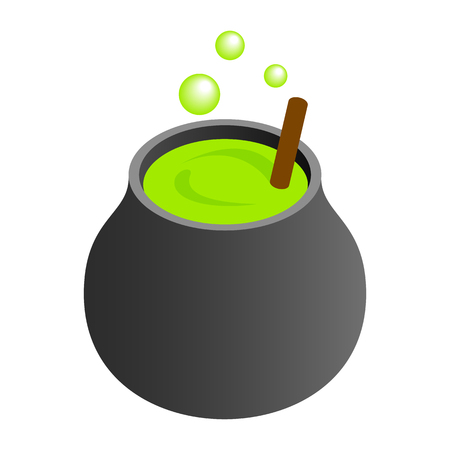 Witch cauldron with green potion, bubbling witches brew isometric 3d icon on a white background