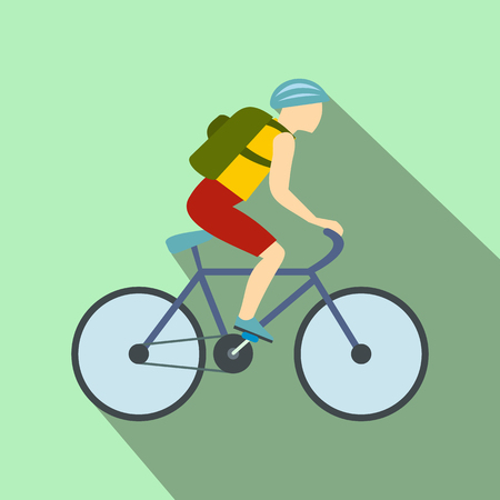 Tourist riding a bicycle with backpack flat icon on a light green background