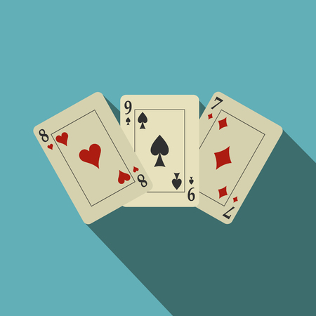 Playing cards flat icon on a blue background with shadow 版權商用圖片