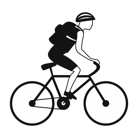 Tourist riding a bicycle with backpack black simple icon Фото со стока