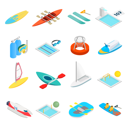 Water sport isometric 3d icons set isolated on white background