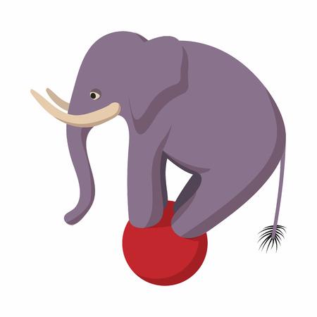 Elephant balancing on a ball cartoon 스톡 콘텐츠