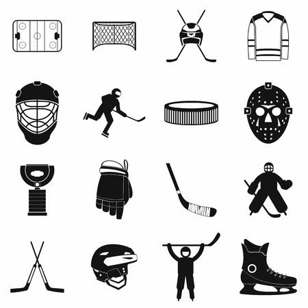 Hockey black simple icons set Banque d'images
