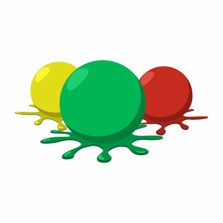 Paintball balls with splashes icon
