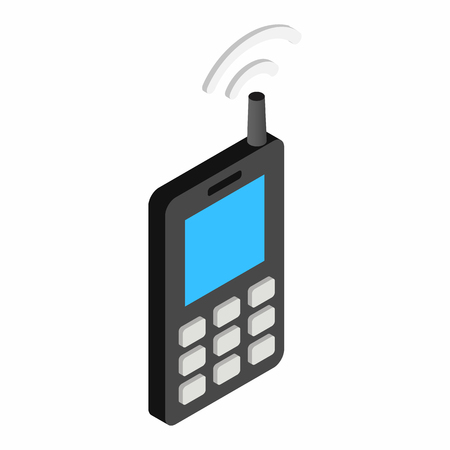 Old mobile telephone isometric 3d icon Stok Fotoğraf