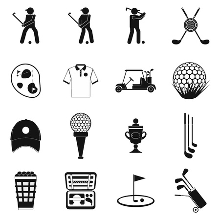 Golf black simple icons set isolated on white background