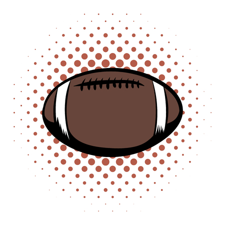 American football comics icon. Oval ball for american football on a white background