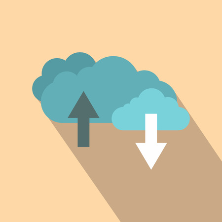Clouds with arrows flat icon on a beige background Reklamní fotografie