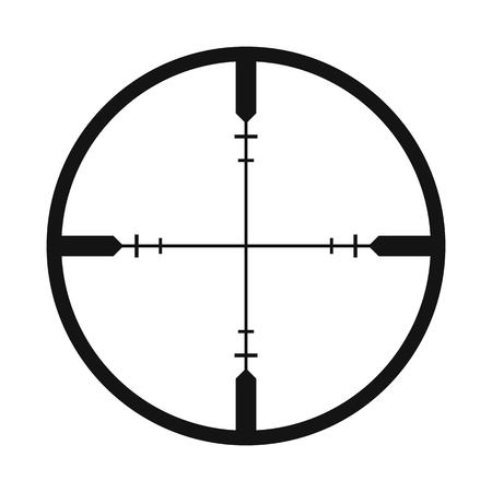 白い背景に分離されたクロスヘアの黒のシンプルなアイコン