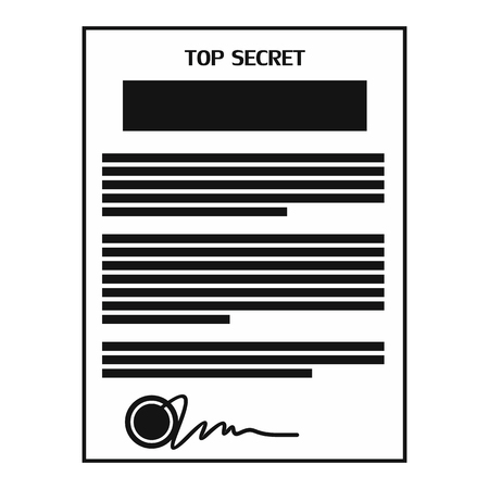 Top secret document black simple icon isolated on white background