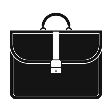 Brown business briefcase black simple icon isolated on white background