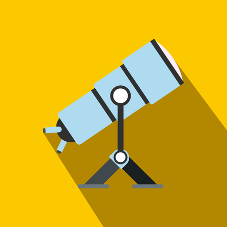 Telescope flat icon with shadow for web and mobile devices