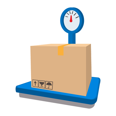 Scales for weighing with box cartoon icon on a white background Stock Photo