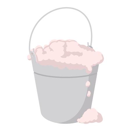 Bucket with foamy water cartoon icon