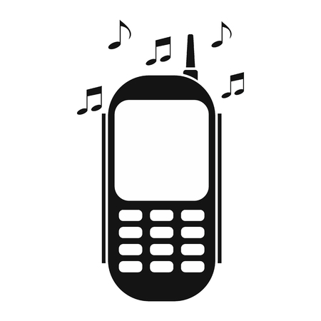 Phone with music black simple icon isolated on white background