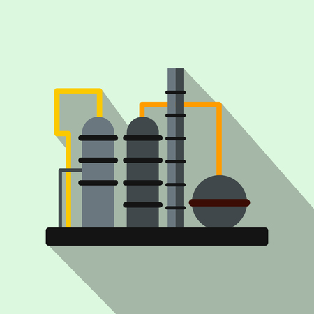 Oil refinery flat icon Stock Photo