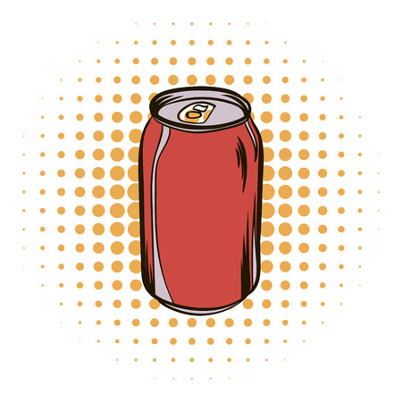 Red aluminum can comics icon Stock Photo